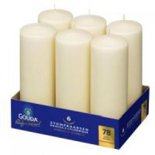 Stompkaarsen ivoor 250 x 80 mm